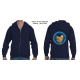 50-50 Full Zippered Hoodie with Buff Hen logo