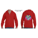 50-50 Full Zippered Hoodie with Splash Pullet